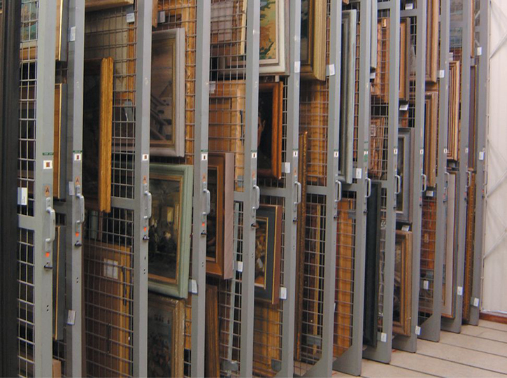 Picture racking in a museum store