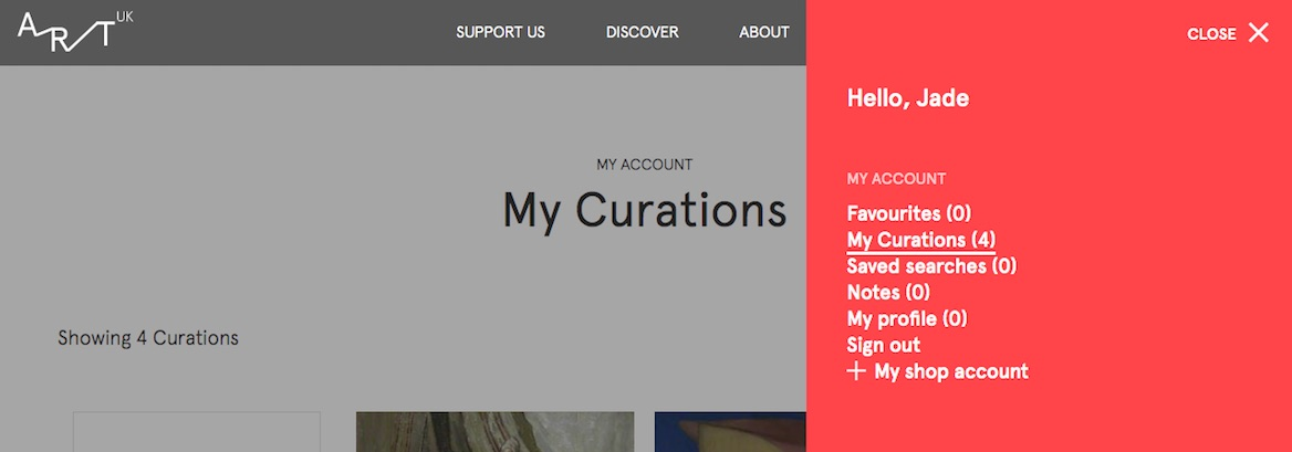 Accessing the menu on the 'My Curations' page