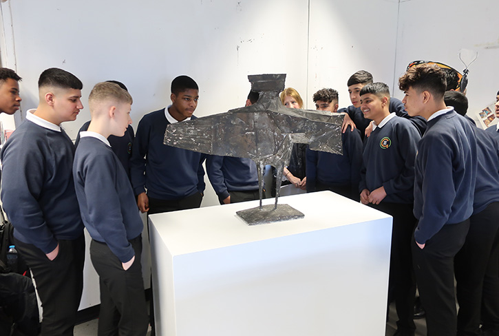Students from Jesmond Park Academy, Newcastle upon Tyne, view 'Stranger VII' by Lynn Chadwick