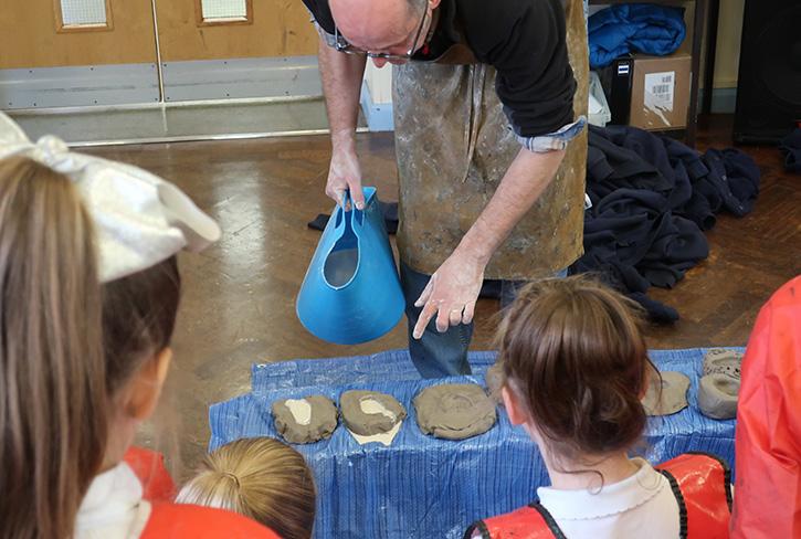 Stephen Broadbent MRSS running a sculpture workshop at St Teresa's Primary School, Chester, 2018