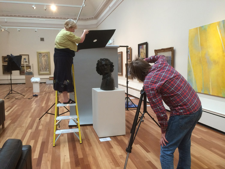 Sculpture photography testing at York Art Gallery during the HLF-funded project development phase, 2015