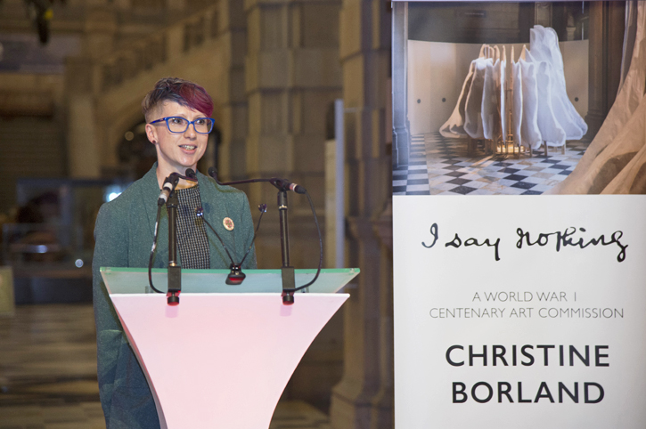 Jo speaking at the opening of Christine Borland's installation 'I Say Nothing'