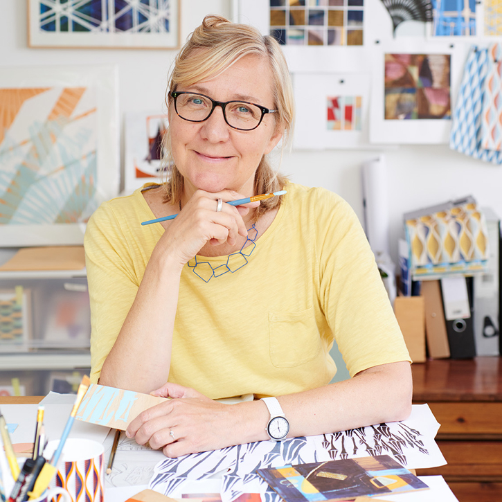 Artist and designer Jo Angell in her studio