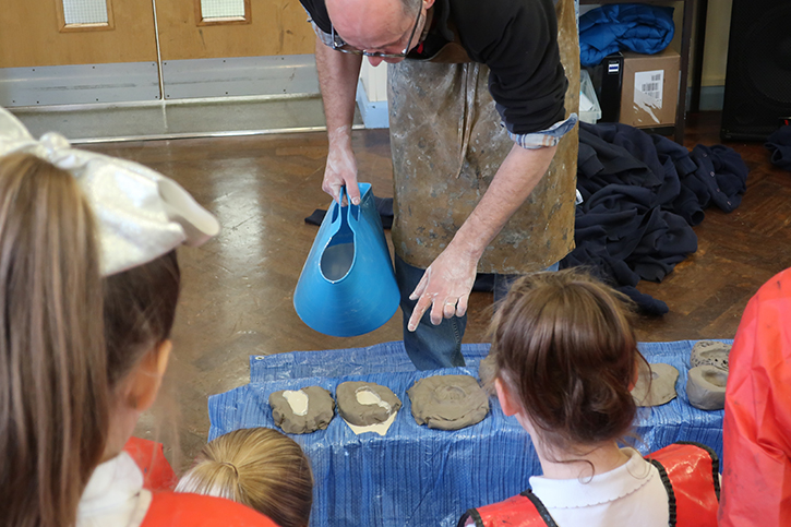 Pupils from St Teresa's Primary School, Chester, take part in a workshop with sculptor Stephen Broadbent
