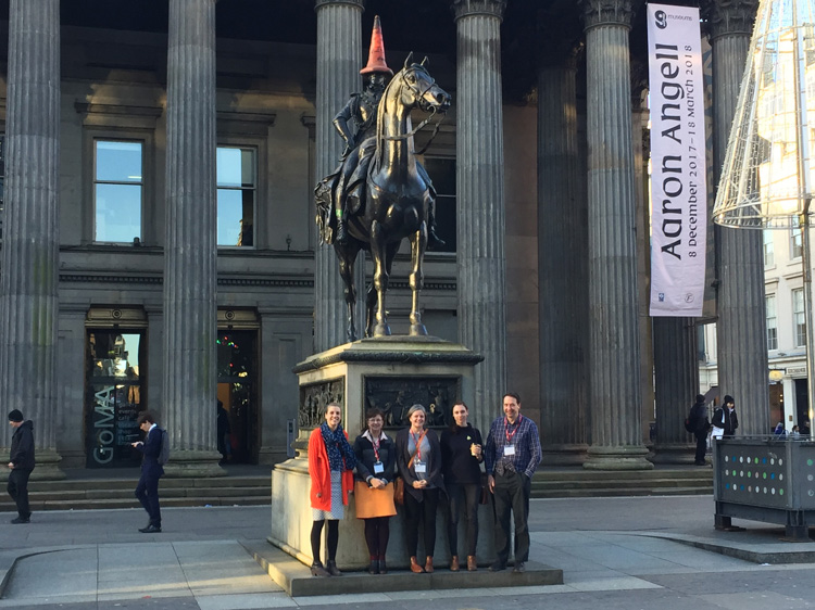 The four Scotland Coordinators with their line manager, Hazel Buchan Cameron (second left), on their first day with Art UK