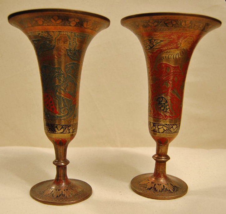 Pair of cast brass vases, engraved with mythical and real animals, and inlaid with colour