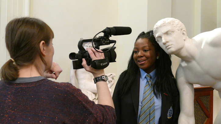 Sculpture project partner Culture Street filming with young people at the Usher Gallery, Lincoln.