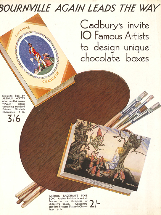 Page from the brochure produced by Cadbury's to promote the 'Famous Artists' range of chocolate box