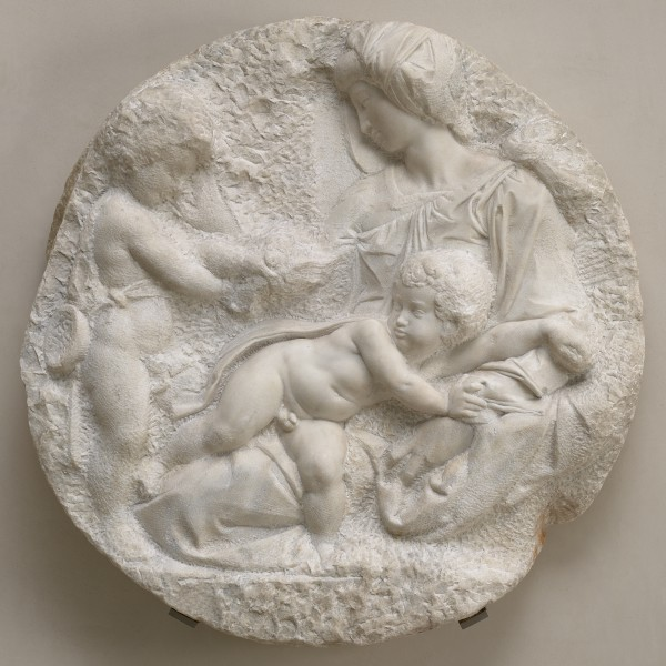 'Taddei Tondo' The Virgin and Child with the Infant Saint John, c.1504–1505, marble relief by Michelangelo Buonarroti (1475–1564)