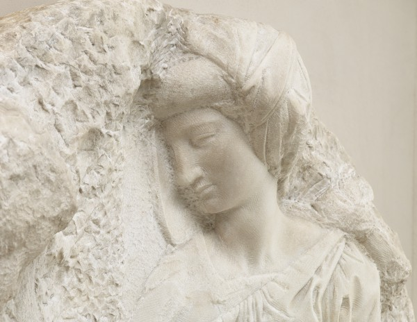 'Taddei Tondo' The Virgin and Child with the Infant Saint John (detail), c.1504–1505, marble relief by Michelangelo Buonarroti (1475–1564)