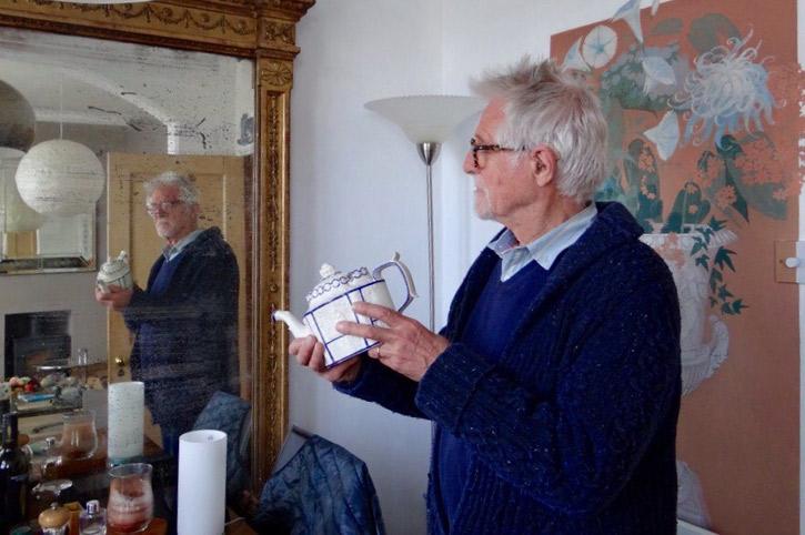 Robert Brown recreating the pose of his self portrait