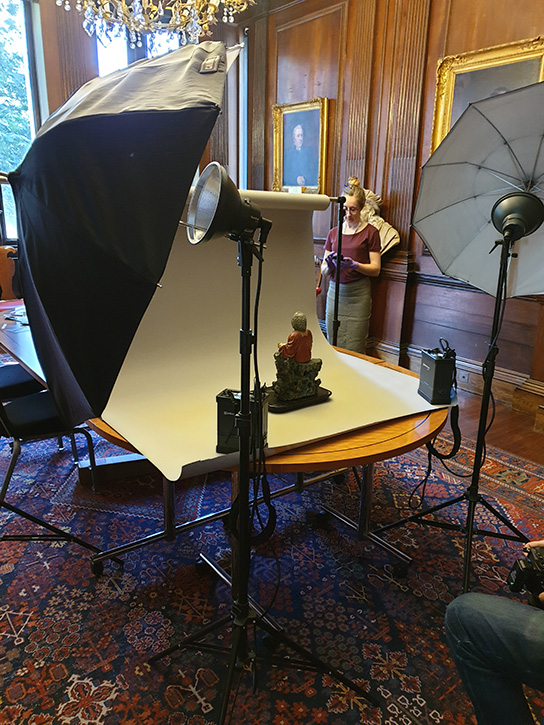 A temporary photography studio set up at the Royal College of Physicians