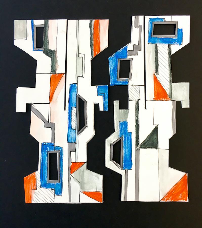 Card shapes coloured