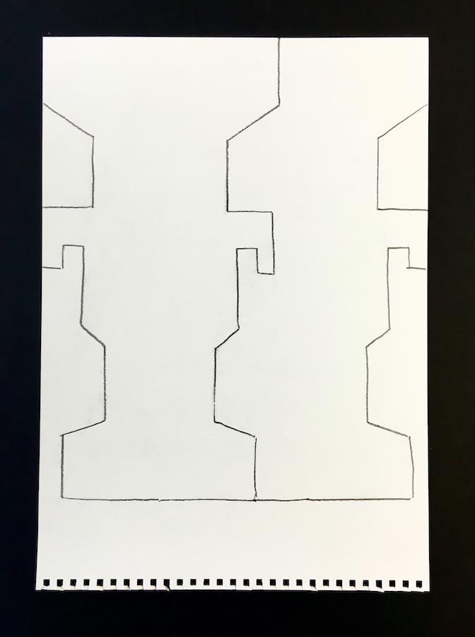 Three lines drawn on card