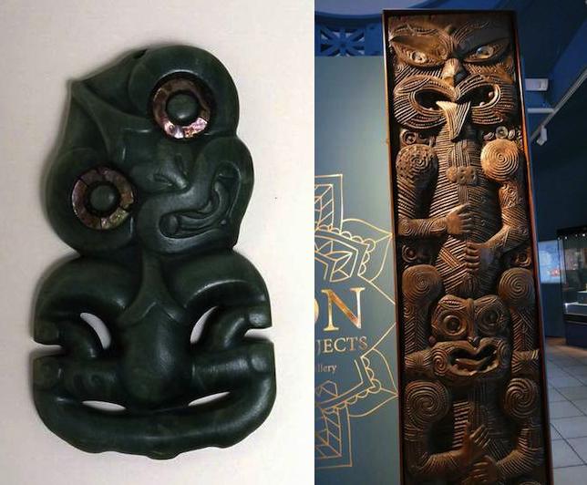 Māori Greenstone Tiki / Ngāti Porou House Panel (Poupou)