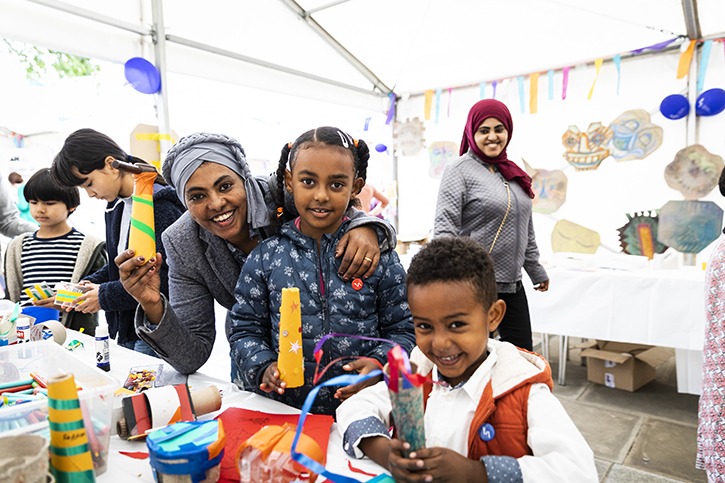 Families enjoying the Yorkshire Sculpture International Street Party in Wakefield
