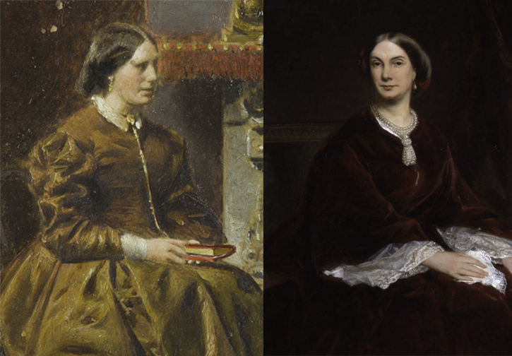 Comparison of 'The Music Room' (left) and 'Louisa, Duchess of Northumberland' (right)