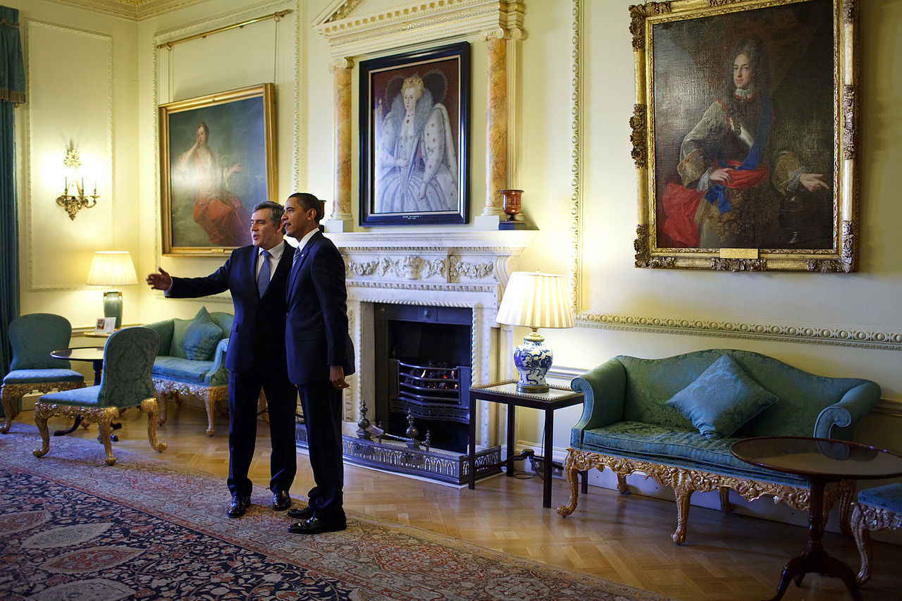 President Barack Obama is welcomed to 10 Downing Street in London by British Prime Minister Gordon Brown, April 1, 2009.