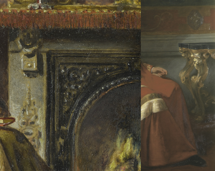 Comparison of 'The Music Room' (left) and 'George Percy, 5th Duke of Northumberland' (right)