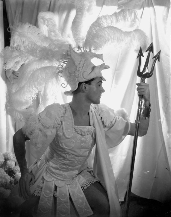 Oliver Messel in his costume for Paris in 'Helen!'