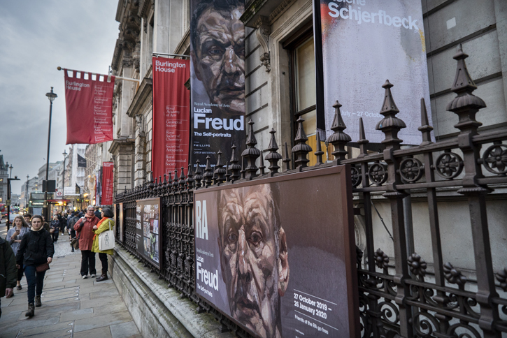 Lucian Freud exhibition, exterior of the Royal Academy of Arts, London