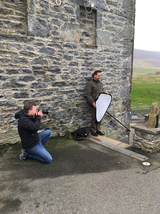 Coordinator Iain Irving and Photographer Carsten Flieger in the Shetland Islands