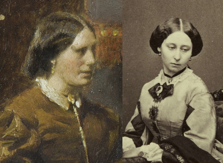Comparison of 'The Music Room' (left) and 'Princess Alice, Duchess of Hesse and by Rhine' (right)