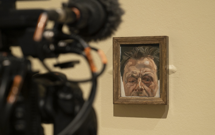 Filming the Lucian Freud exhibition at the Royal Academy of Arts, London