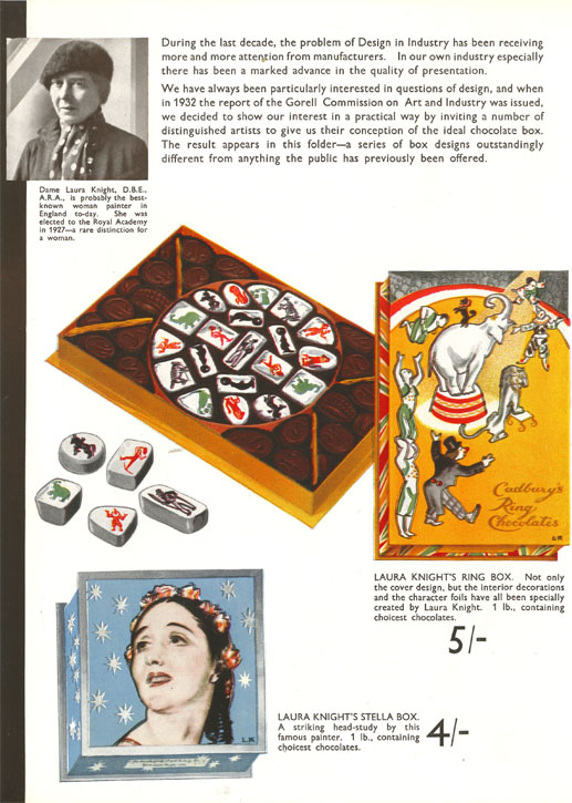 Laura Knight's page in the brochure produced by Cadbury's to promote the 'Famous Artists'