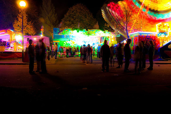Goose Fair at night