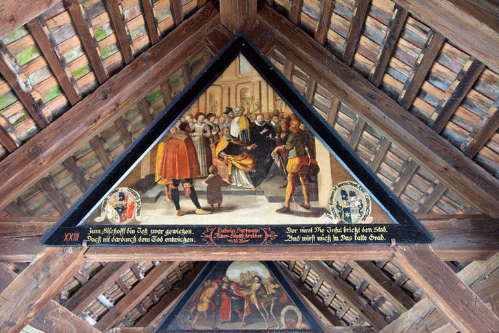 One of the Totentanz panels under the Spreuer Bridge in Lucerne