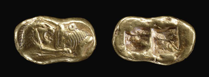 Gold coin of Croesus (reigned c.560–547 BC)