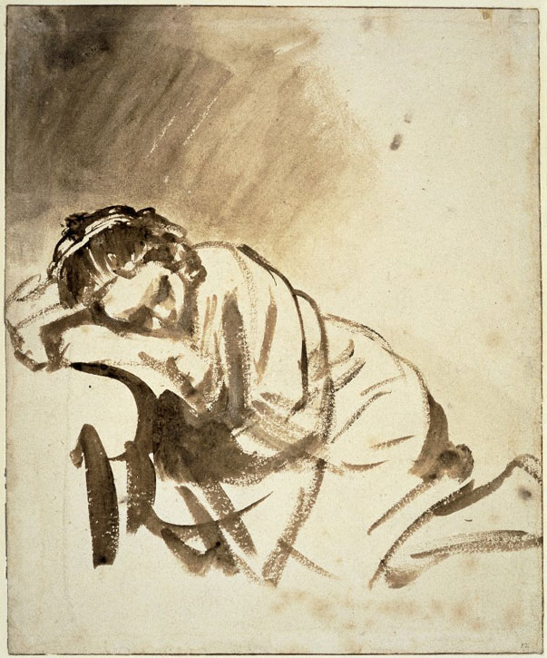 c.1654, brush and brown wash, with some white bodycolour by Rembrandt van Rijn (1606–1669)