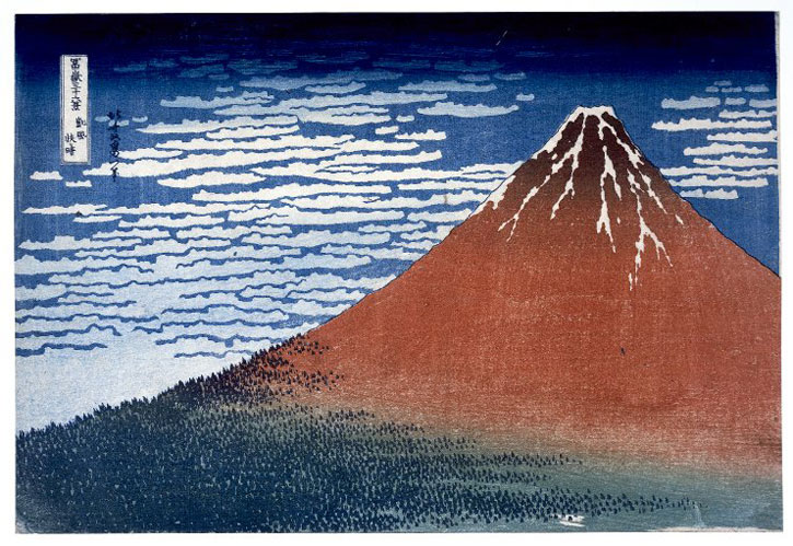 'Clear Day with a Southern Breeze' from the series 'Thirty-Six Views of Mt Fuji', 1831, colour woodblock oban print by Katsushika Hokusai (1760–1849)