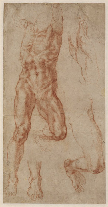 Study of a Crucified Man (Haman) with Separate Leg and Foot Studies