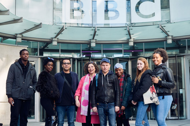 Project participants and Accumulate Director Marice Cumber arrive at the BBC