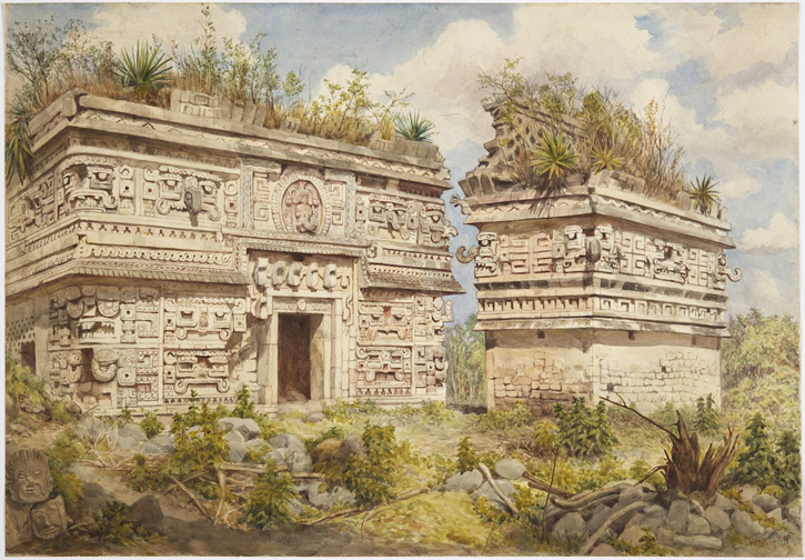 Watercolour by Adela Breton of the east façade of the 'Nunnery', with the 'Church' at Chichén Itzá, both buildings heavily decorated and with hook-nosed masks of the rain god Chac