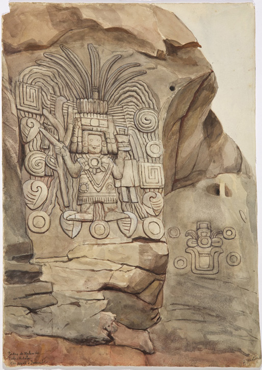 A petroglyph carved on a rock near Tula in Hidalgo state, showing the god Centeocihuatl, the god of maize