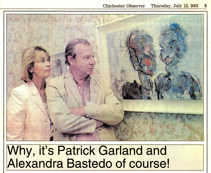 Alexandra Bastedo and Patrick Garland with their double portrait at Pallant House Gallery
