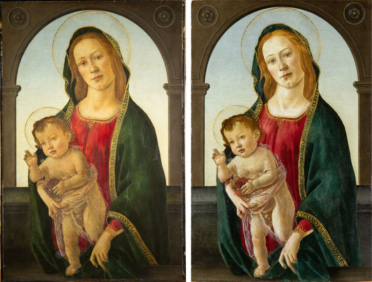 Before and after conservation of 'Virgin and Child with a Pomegranate'