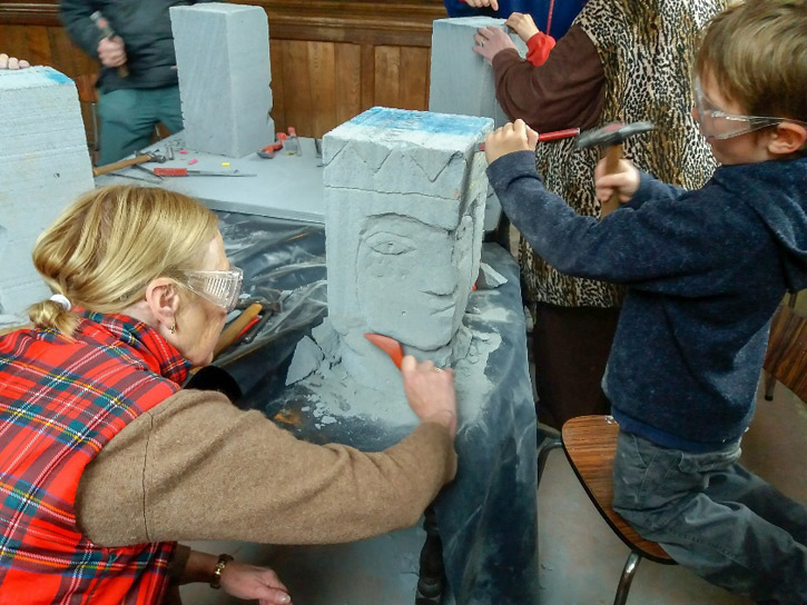 Sculpting faces from Celcon blocks in Edmonthorpe, Leicestershire