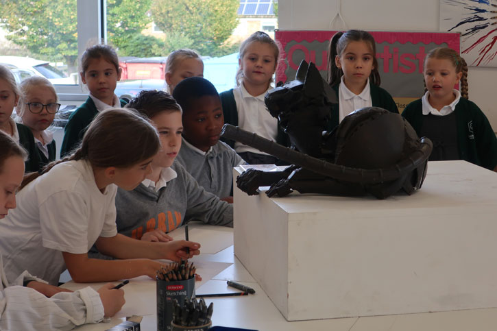 Children inspect 'Cat' at Latton Green Academy