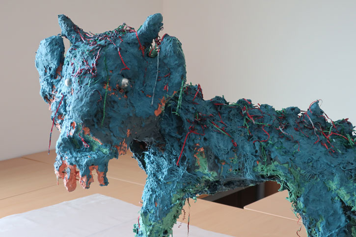 Collaborative 'Cat Dragon' sculpture at Newhall Academy