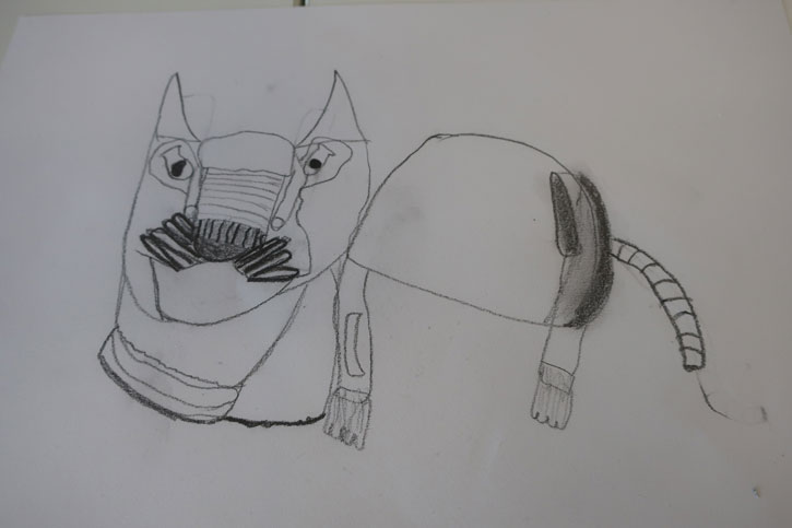 Drawing of 'Cat' by a pupil at Latton Green Academy