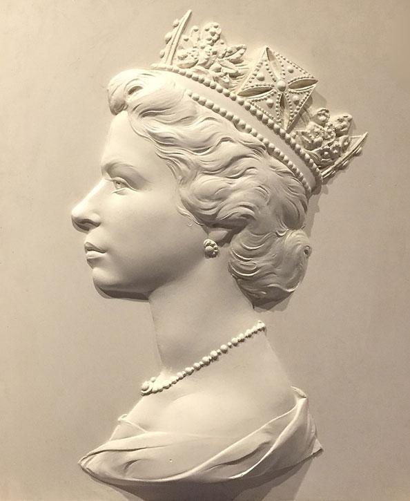 Sculpture of Elizabeth II for postage stamp design