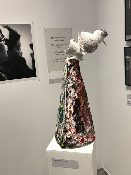 A participant's sculpture on display at the exhibition