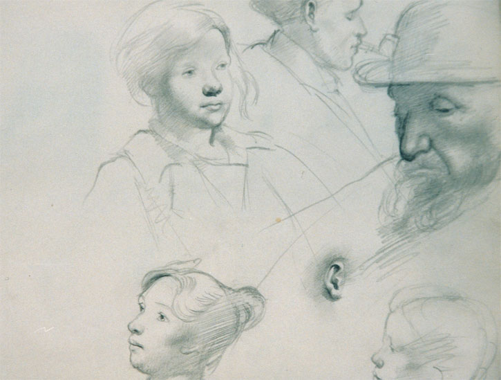 Faces and an ear, a page from a sketchbook