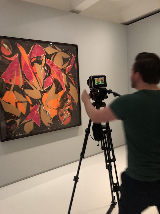 Fraser Watson filming one of Lee Krasner's collages