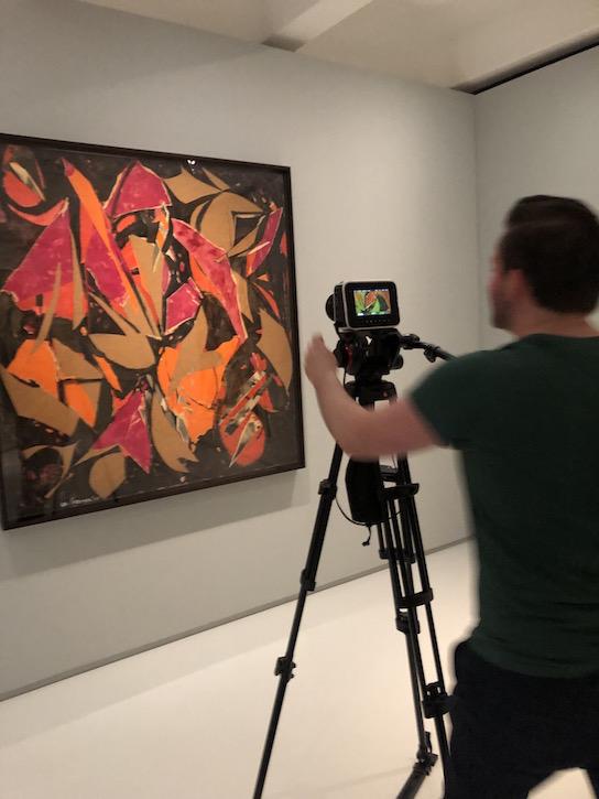 Fraser Watson filming one of Lee Krasner's collages