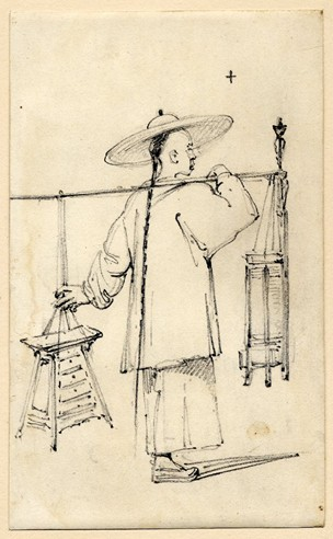 A Barber Carrying His Requisites; Walking to Right, Wearing Large Brimmed Hat